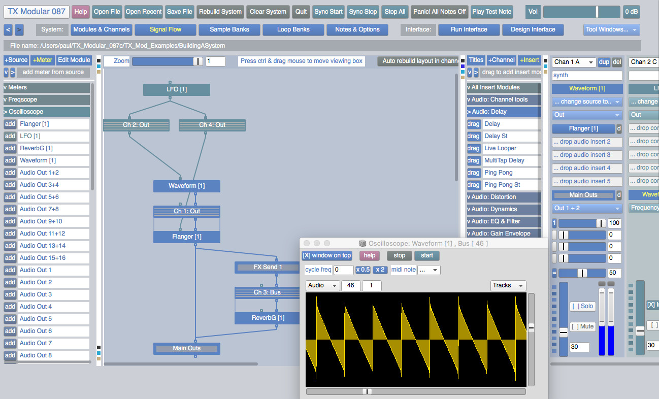 TX Modular is a vast, free set of sound tools in SuperCollider