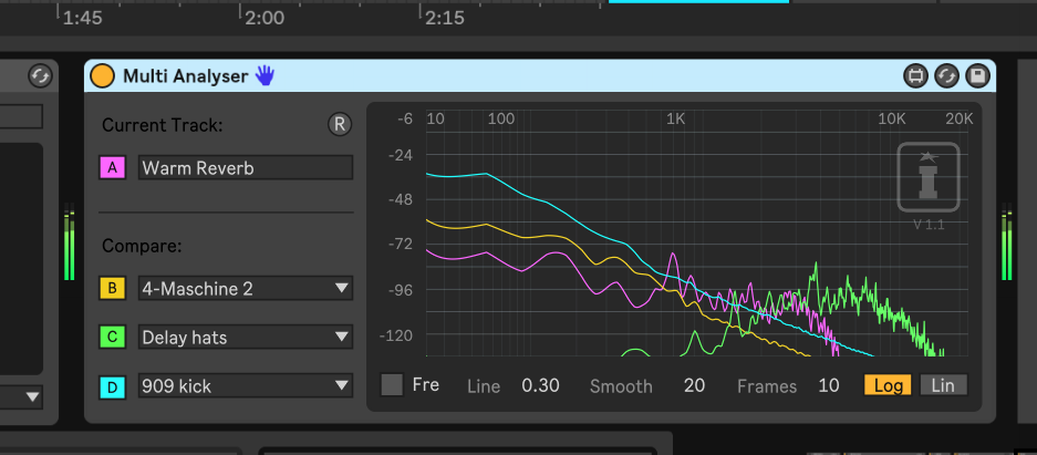 This free Multi Analyzer shows why Live 10 multichannel Max is cool