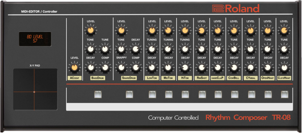 Control and unlock hidden features on Roland's TR-08 (the small one)
