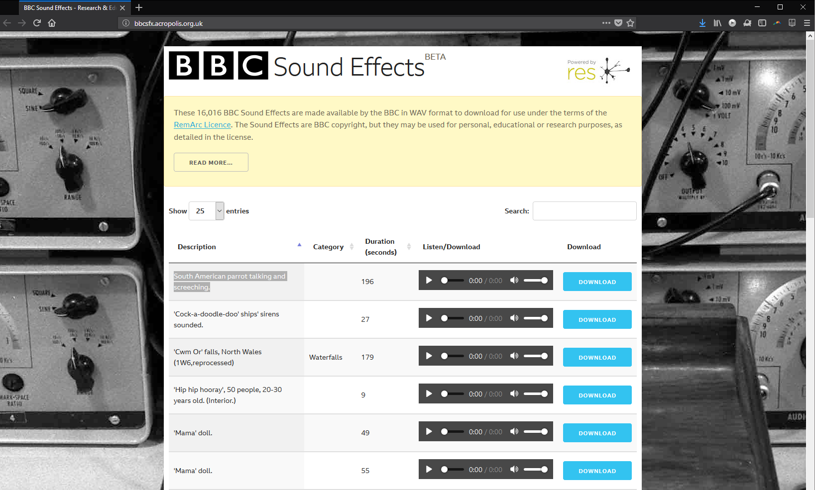 BBC gives away 16k WAV sound effects, but disallows some uses - CDM