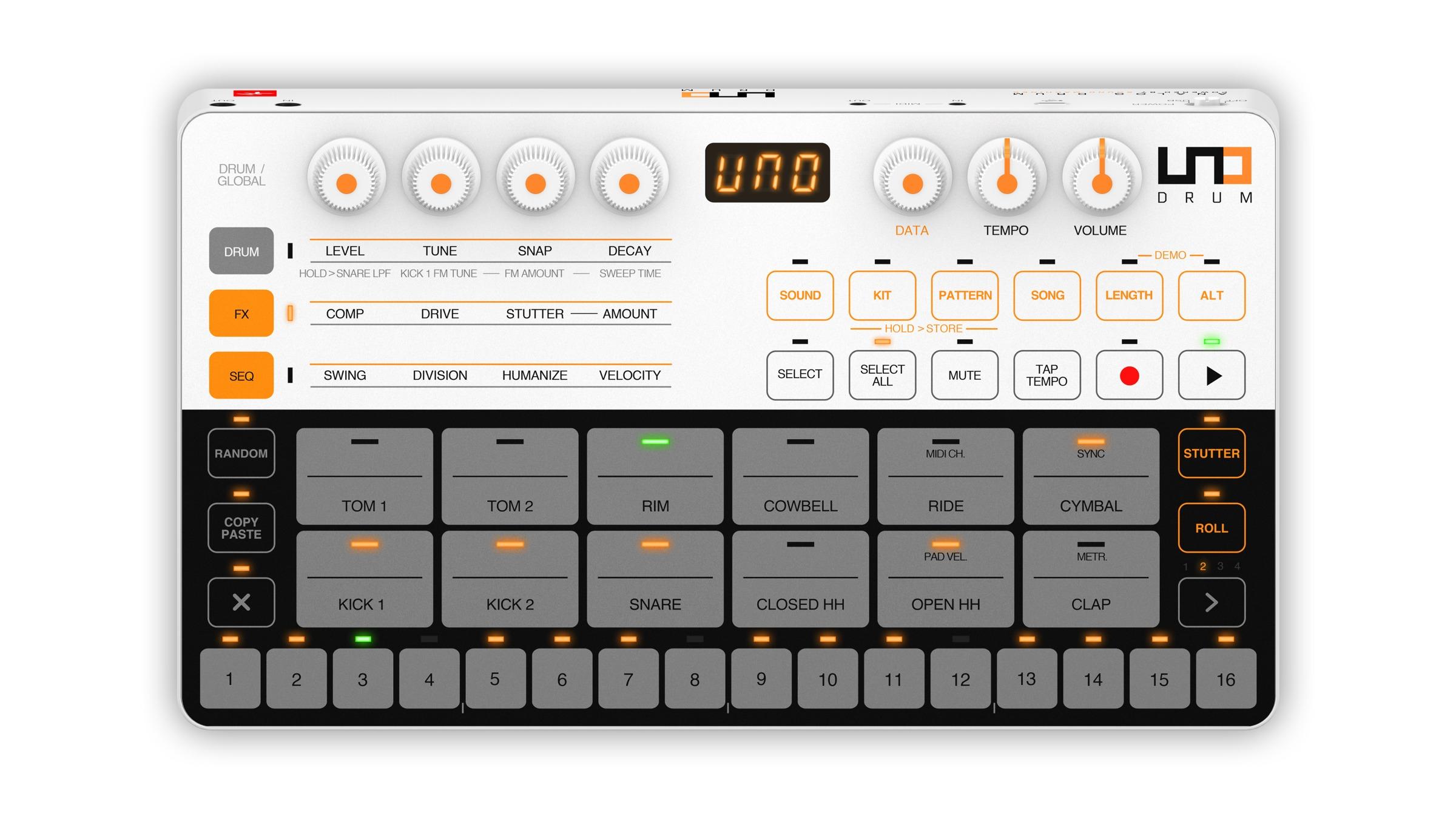 ik uno drum portable analog pcm drum machine cdm create digital music. Black Bedroom Furniture Sets. Home Design Ideas