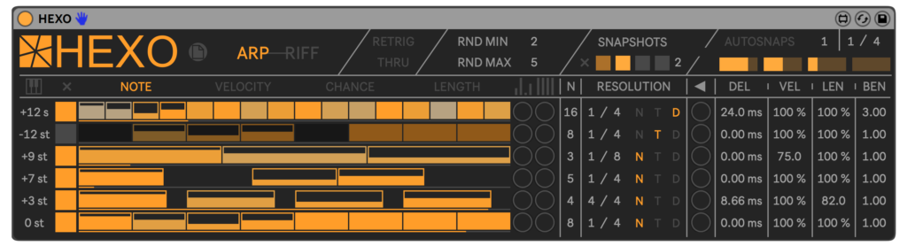 HEXO for Live is an arpeggiator transformed into a polyphonic compositional tool